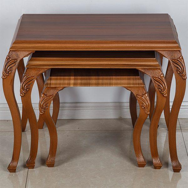 میز عسلی چوبی چشمه نور کد D-117-BR مجموعه 3 عددی