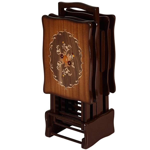 میز عسلی چوبی معرق تاشو چشمه نور کد D-103-BR مجموعه 4 عددی
