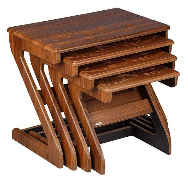 میز عسلی چوبی چشمه نور کد D-118-BR مجموعه 4 عددی