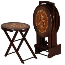 میز عسلی چوبی چشمه نور کد A-133-BR مجموعه 4 عددی
