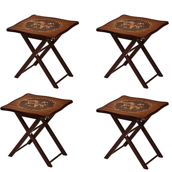 میز عسلی چوبی چشمه نور کد A-134-BR مجموعه 4 عددی