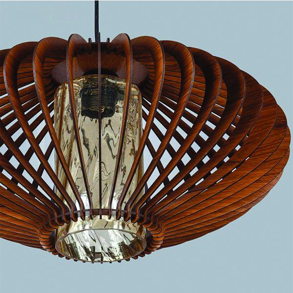 چراغ آویز چوبی چشمه نور کد N1508.1H-BR
