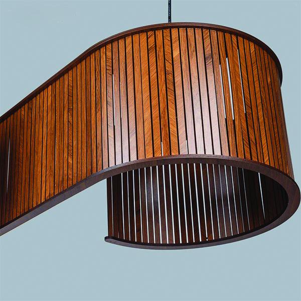 لوستر چوبی دو شعله چشمه نور کد N1507.2H-BR