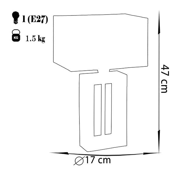 آباژور رومیزی چشمه نور مدل MT7067.WT-T شید طوسی