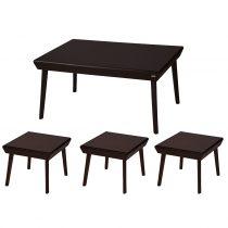 میز پذیرایی چوبی چشمه نور کد E-209-BR مجموعه 4 عددی