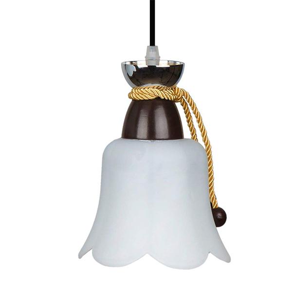 چراغ آویز فلزی و دایکاست چشمه نور کد A1277.1H-BR قهوه ای