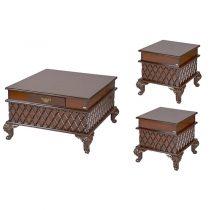 میز پذیرایی چوبی چشمه نور کد E-204-F مجموعه 3 عددی