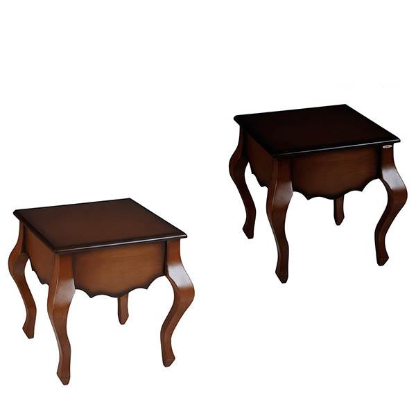 میز پذیرایی چوبی چشمه نور کد E-205-BR مجموعه 3 عددی