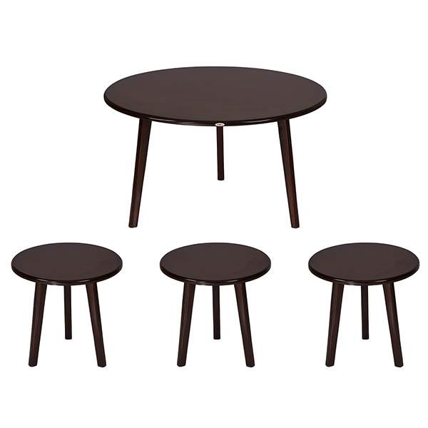 میز پذیرایی چوبی چشمه نور کد E-207-BR مجموعه 4 عددی
