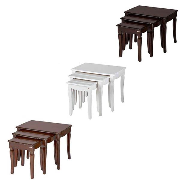 میز پذیرایی چوبی چشمه نور کد E-208-BR مجموعه 4 عددی