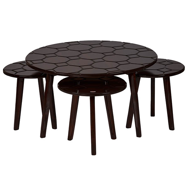 میز پذیرایی چوبی چشمه نور کد E-211-BR مجموعه 4 عددی