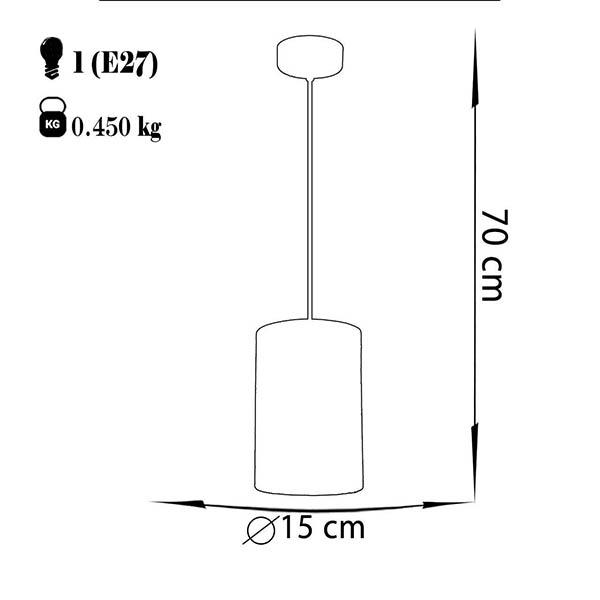 چراغ آویز فلزی چشمه نور کد A1304.1H-BR