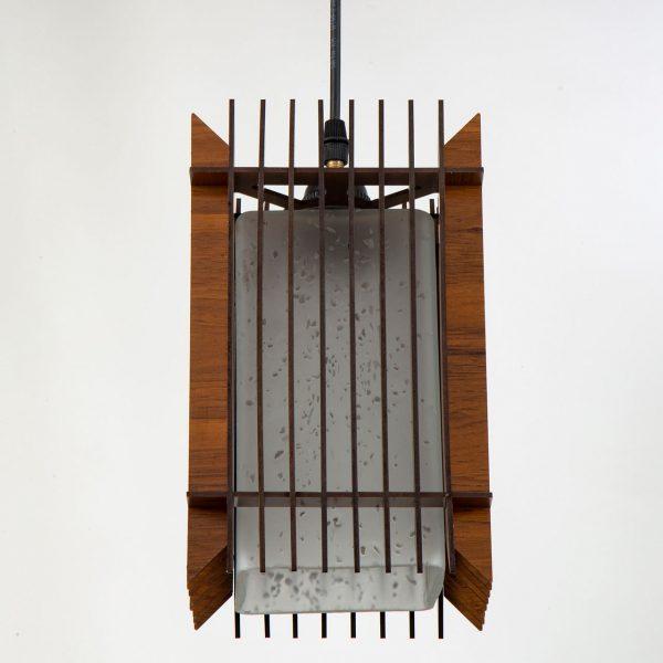چراغ آویز چوبی چشمه نور کد A1324/1H-BR قهوه ای