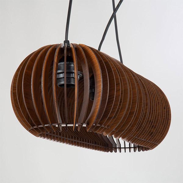 چراغ آویز چوبی چشمه نور کد A1321/3H-BR قهوه ای