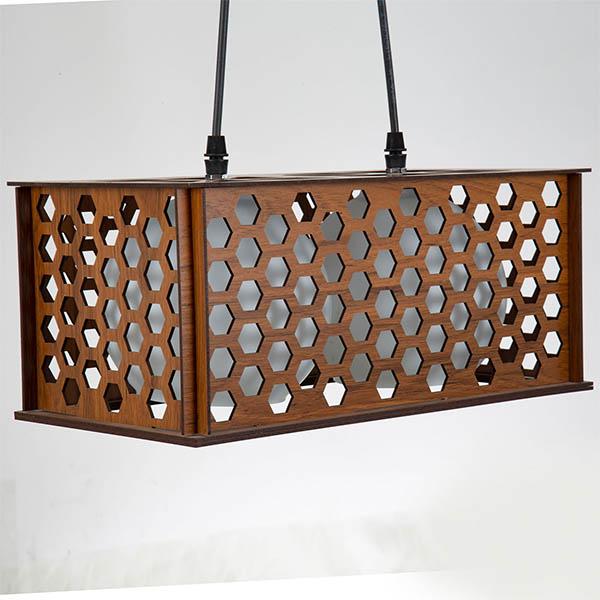 چراغ آویز چوبی چشمه نور کد A1323/2H-BR قهوه ای