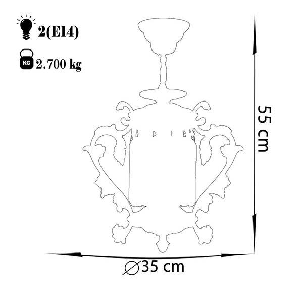 چراغ آویز دایکاست آلومینیوم چشمه نور کد S3599/13-AO آنتیک