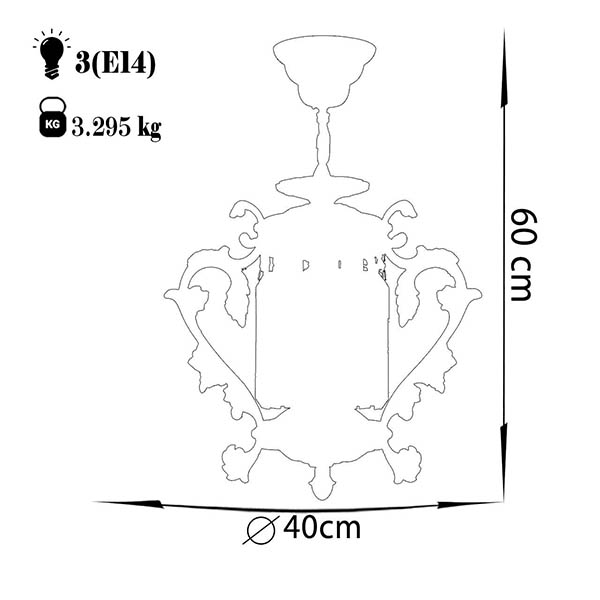 چراغ آویز دایکاست آلومینیوم چشمه نور کد S3599/18-AO آنتیک